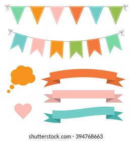 Set of multicolored flat buntings garlands, flags, ribbons, heart and speech bubble. Celebration decor.