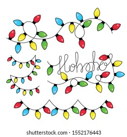 Set of multicolored flat led Christmas lights garland isolated on white background. Ho-Ho-Ho Christmas vector greeting lettering