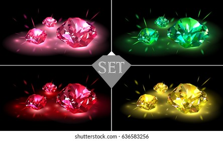 Set of multicolored gemstones on a black background. Vector illustration.