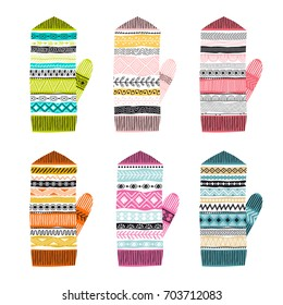 Set of multicolored knitted mittens. Freehand drawing. Can be used for scrapbook, postcards, print, etc.