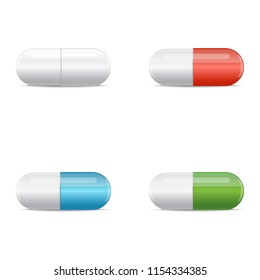 Set of multicolored medical capsule pills. Isolated vector illustration on white background.