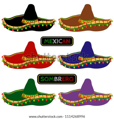 f72d3d26 Set Multicolored Mexican Sombrero Vector Illustration Stock Vector ...