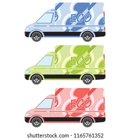 3cf1017dbb Set of multi-colored motor vans.Truck car for transportation. Corporate  delivery.