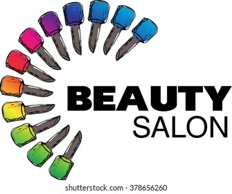 Set of multicolored nail polish bottles with the word salon. Concept logo design