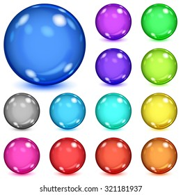 Set of multicolored opaque spheres with glares and shadows