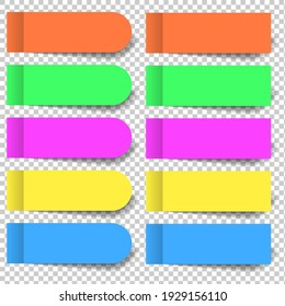 Set of multicolored pieces of stickers and rounded bookmarks isolated on a transparent background. Separate pieces of tape flat realistic illustration.