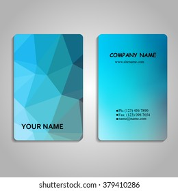 set of multicolored polygon and blurred business card templates vector illustration