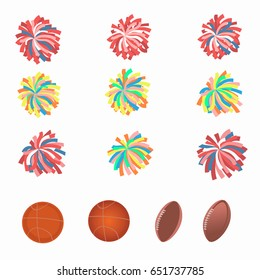 Set of multicolored pom-poms. Basketball and football balls. Vector illustration.