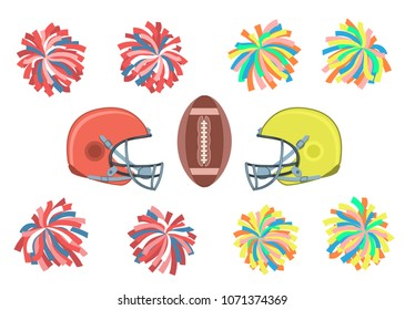 Set of multicolored pom-poms, Helmets and ball. Vector illustration EPS-8.