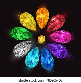 Set of multicolored precious stones in the form of drops on a black background. Vector illustration.
