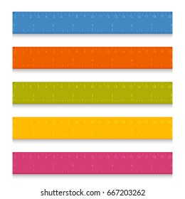 Set of multicolored school measuring rulers with centimeters and inches. Vector illustration