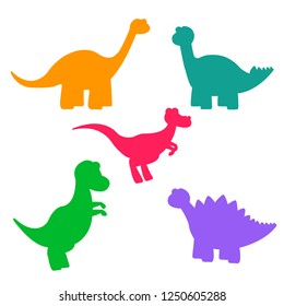 Set of multicolored silhouettes of baby dinosaurs