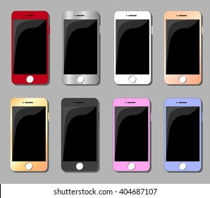 Set of multicolored smartphones flat vector illustration. Smartphone icon flat style. Iphone vector illustration. Smartphone icon picture. Smartphone Icon Drawing. Smartphone Icon Image.
