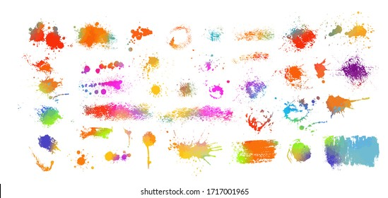Set of Multi-colored spots of paint on a white background. Grunge frame of paint. Mixed media. Vector illustration.