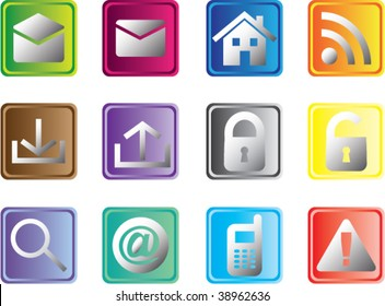Set of multicolored square web buttons