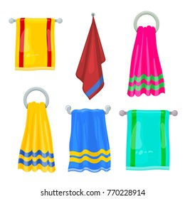 Set of multi-colored towels. Piece of hygiene cotton towel on a white background. Vector illustration