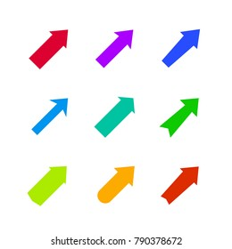 Set of multicolored various arrows. Vector illustration