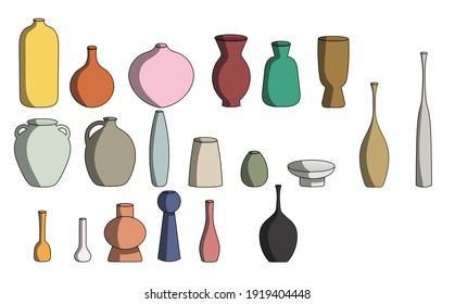 Set of multicolored vases in vector illustration