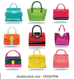 Set of Multi-coloured fashion women's handbag standing in front on a white background.Isolated objects from falling shadow.Casual and festive.Fashion illustration,vector