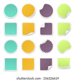 Set of multi-colours stickers with rounded corners in different shapes. Vector illustration.