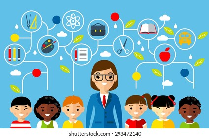 Set of multicultural pupil with teacher and dialog speech bubbles Vector illustration of education concept
