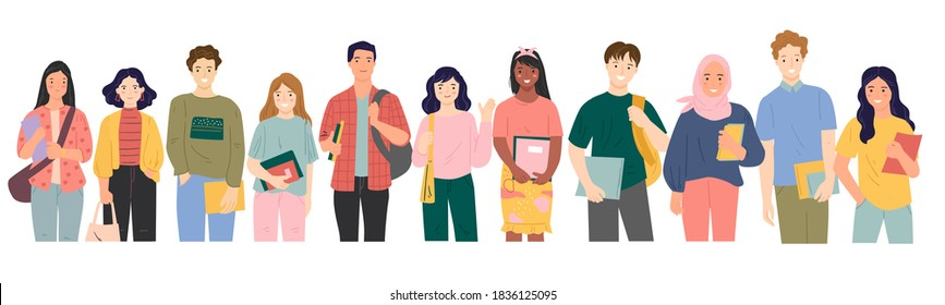 set of multicultural students holding books vector illustration