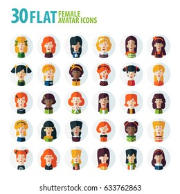 Set of multi-ethnic people icons in flat style. Vector women character