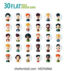 Set of multi-ethnic people icons in flat style. Vector men character