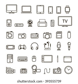 Set of multimedia device icon black color and line style isolated on white background. Perfect for your business design.Vector Illustration