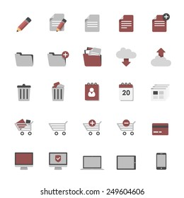 Set of multimedia flat design icons 1 - online shopping, online business, services, office & devices - isolated on white background