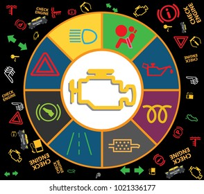 Set of multiple car instrument cluster icons: Check engine car light, ABS, Oil, Parking, Battery, DPF, Bonnet, Fuel, Airbag DTC codes, with instrument cluster lights gauges pattern