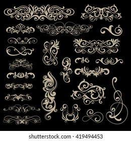 Set of multiple different classic swirls vector elements for design project of victorian style