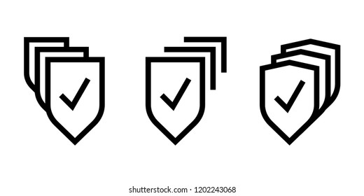 Set of multiple shields icons with reliability mark as sign of multi-level protection and trustworthy security
