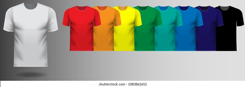 Set of multiple v-neck tee shirts in rainbow color series