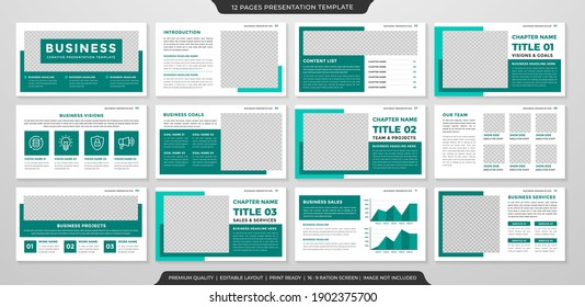 set of multipurpose business presentation layout template design with modern style and minimalist concept use for business annual report and infographic