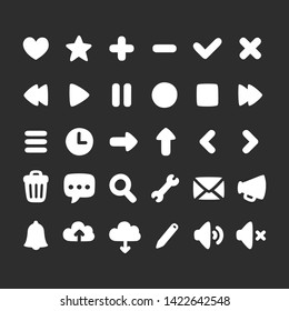 Set of multi-purpose interface icons for web, app or game. Simple hand drawn rounded cartoon style.