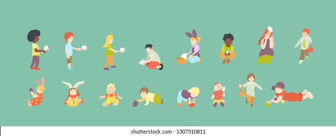Set multiracial kids or children playing with multicolored easter eggs outdoor. Collection for easter egg hunt event
