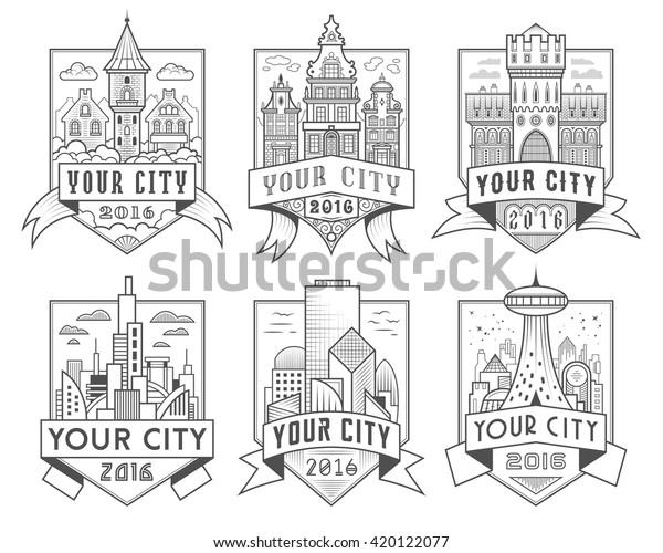 Set Municipal City Characteristic Architecture Vector Stock