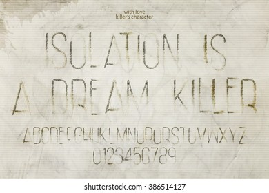 set of murderer style alphabet letters and numbers over grunge background. vector, assassin font type design. killer sloppy characters collection. thriller movie typesetting, messy cement wall texture