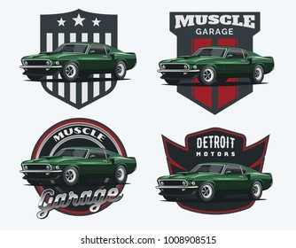 Set of muscle car emblems and badges. Classic car t-shirt template. Old american car from 60s.