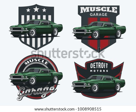 Set Muscle Car Emblems Badges Classic Stock Vector Royalty Free