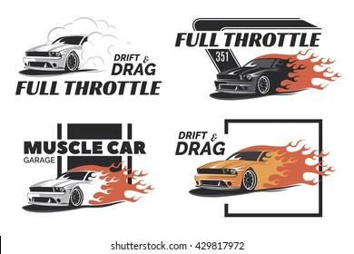 Set of muscle car logo, badges and emblems isolated on white background. Service car repair, restoration and club elements. T-shirt design.
