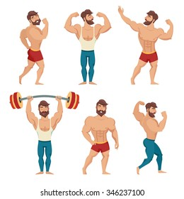 Set of muscular, bearded mans vector illustration. Fitness models, posing, bodybuilding. Mens physics posing. Bodybuilders, healthy sport isolated on white background