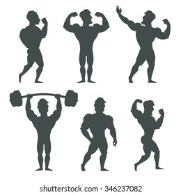 Set of muscular bodybuilder man silhouettes vector illustration. Fitness models, posing, bodybuilding. Isolated on white background