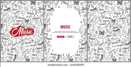 Set of Music backgrounds with hand-draw doodle elements