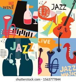 Set von Musikkarten und Bannern flaches Vektorgrafik-Design. Musikkarten mit Instrumenten. Banner für Jazz-Musikfestivals. Farbige Jazz-Konzertplakate, Partyflyer, Broschüren