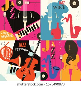Set of music cards and banners flat vector illustration design. Music cards with instruments. Jazz music festival banners. Colorful jazz concert posters, party flyers, brochures