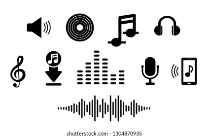Set music icon in flat. For smart phone app to listen and download songs. Music notes, microphone, headphones, treble clef, boot, phone, wave.