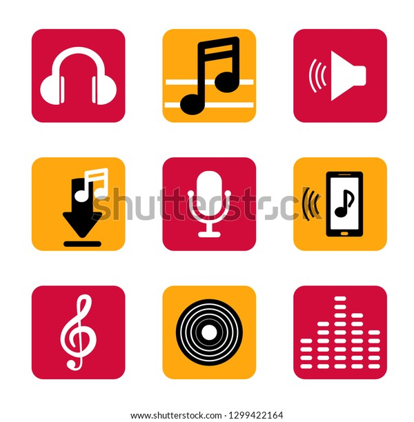 Set Music Icon Flat Smart Phone Stock Vector (Royalty Free
