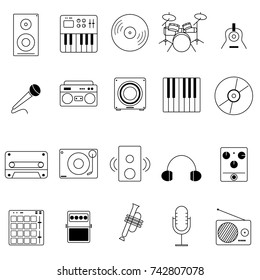 Set of Music icon vector on White background.